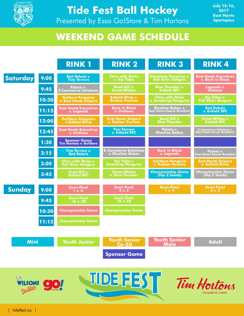 Tide Fest Ball Hockey Schedule